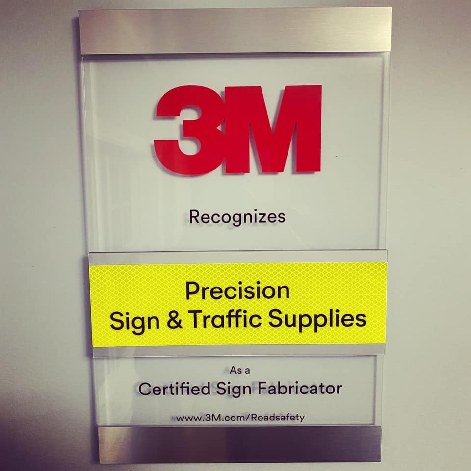 Precision Sign & Traffic Supplies receives plaque of recognition from 3M